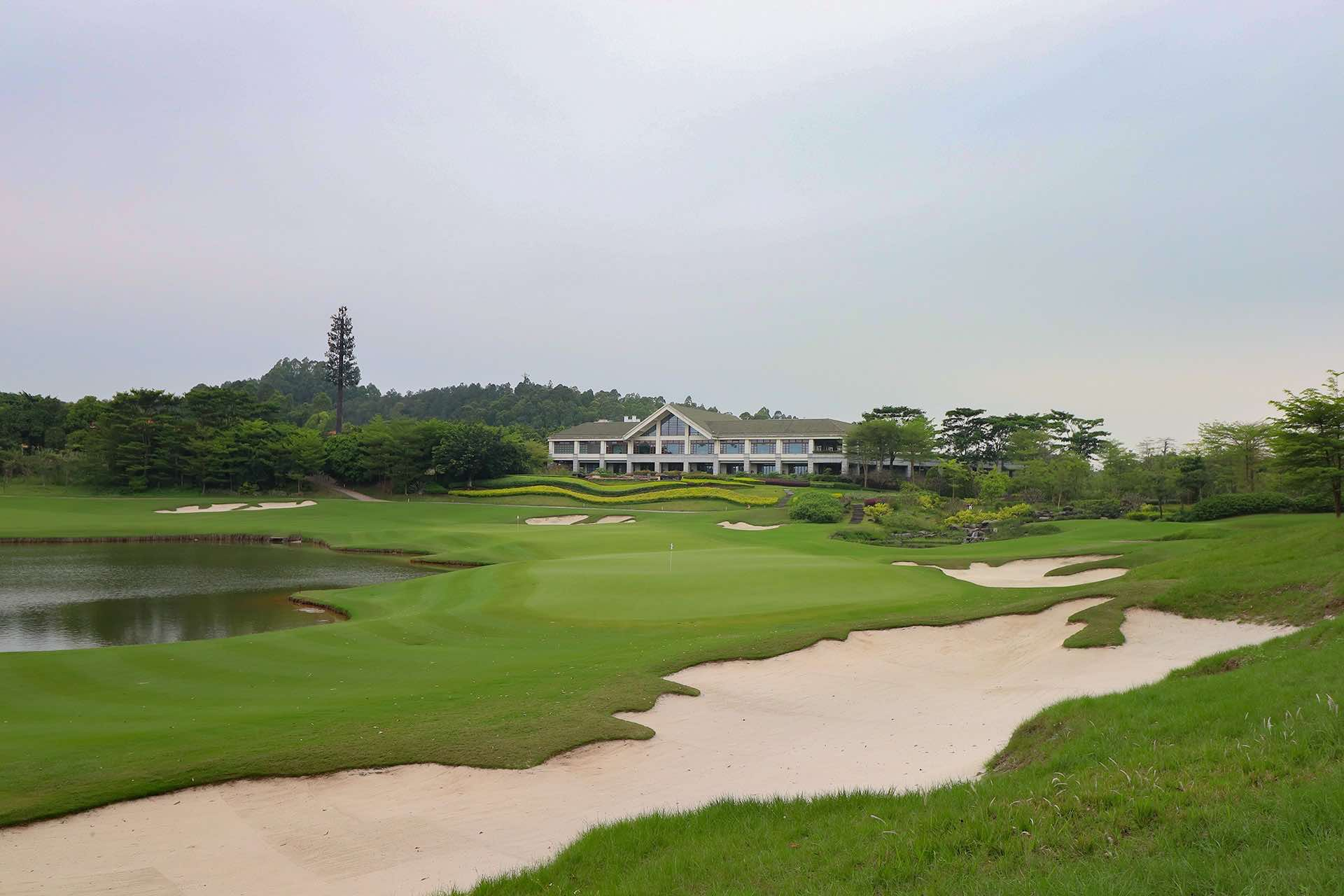 Foshan Golf Club 10 Green and Clubhouse View