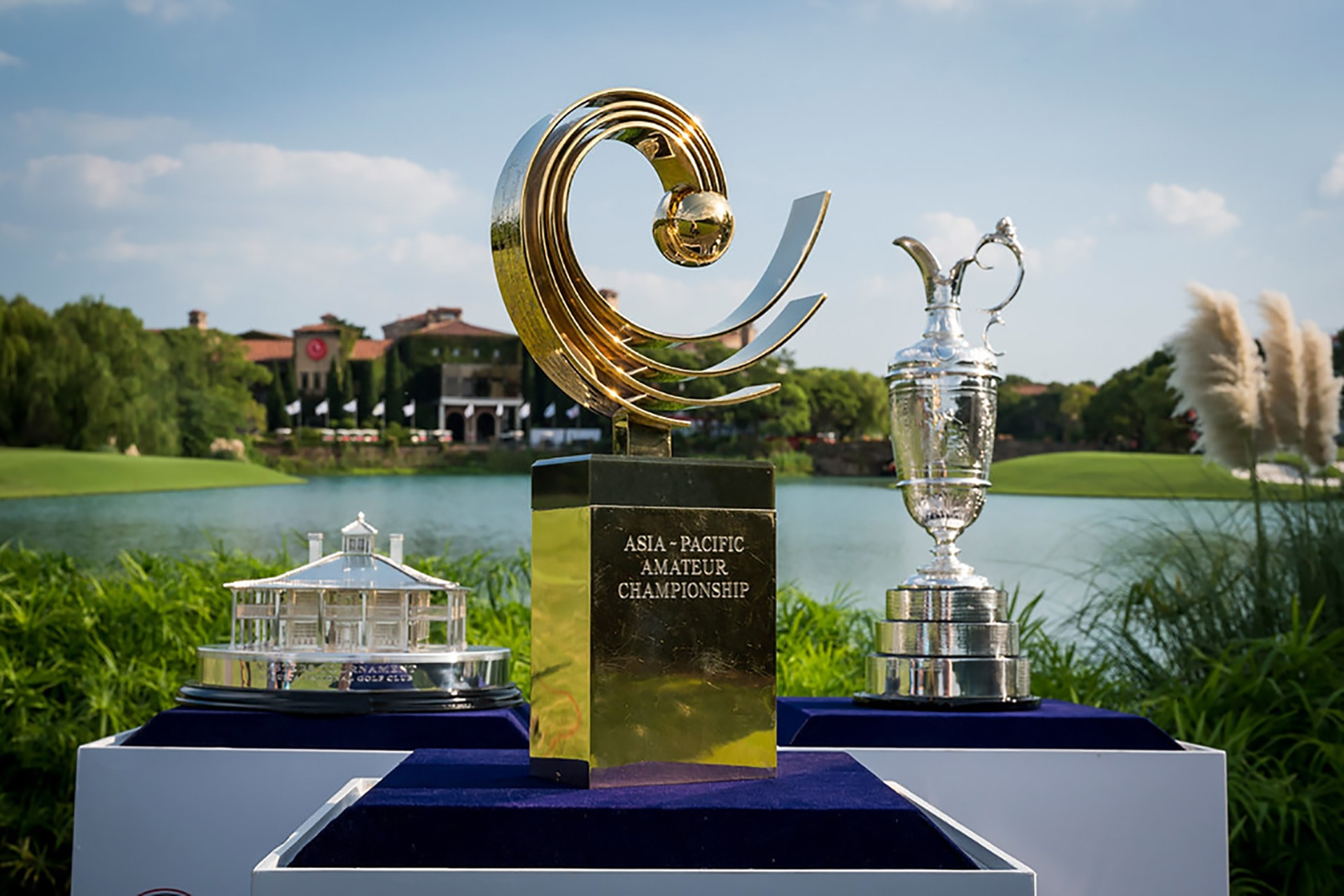Asia Pacific Amateur Championship Trophy staged in front of Masters Trophy and the Claret Jug