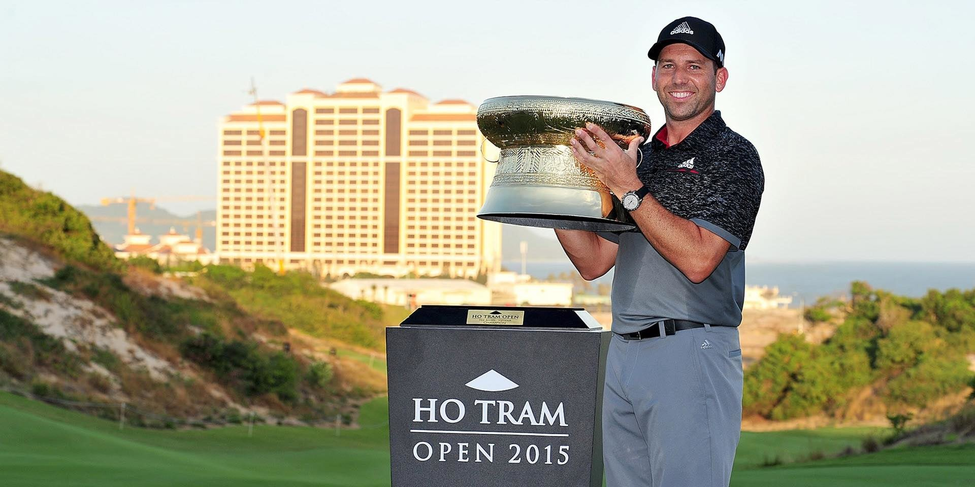 Ho Tram Open Champion Sergio Garcia posing with his trophy at The Bluffs Ho Tram Strip